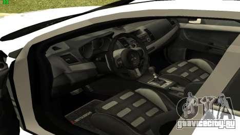 Mitsubishi Lancer X GVR для GTA San Andreas вид сзади
