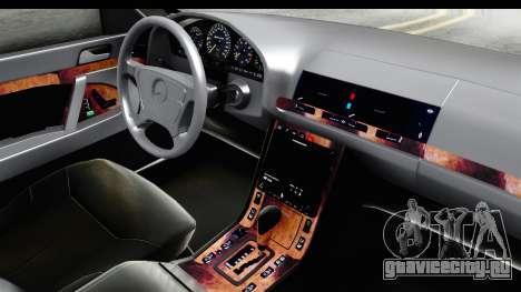 Mercedes-Benz W140 S600 AMG для GTA San Andreas вид изнутри