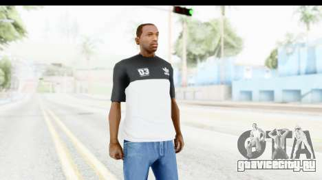 Adidas Black White T-Shirt для GTA San Andreas второй скриншот