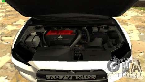 Mitsubishi Lancer X GVR для GTA San Andreas вид изнутри