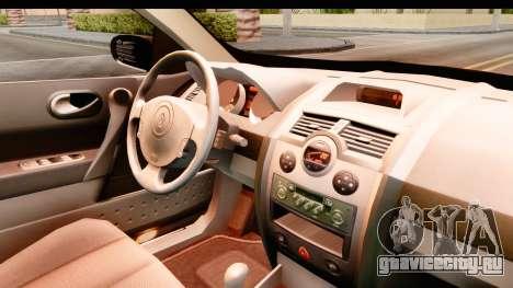 Renault Megane 2 Sedan 2003 для GTA San Andreas вид изнутри