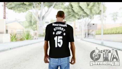 Stussy Black T-Shirt для GTA San Andreas второй скриншот