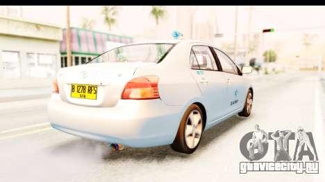 Toyota Vios 2008 Taxi Blue Bird для GTA San Andreas вид сзади слева