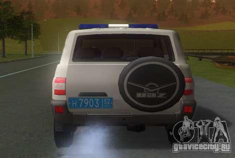 УАЗ Patriot Полиция v1 для GTA San Andreas вид сзади слева