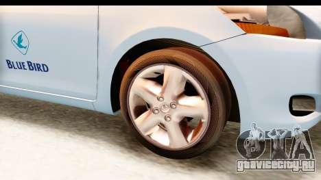 Toyota Vios 2008 Taxi Blue Bird для GTA San Andreas вид сзади
