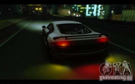 Audi R8 GT Sport 2012 для GTA San Andreas вид изнутри