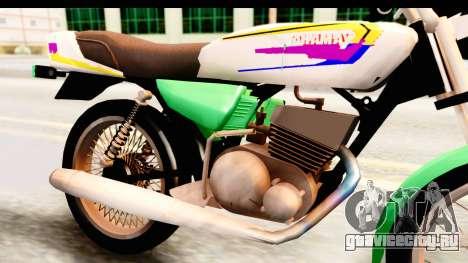 Yamaha RX115 Colombia для GTA San Andreas вид сзади
