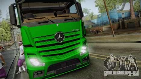 Mercedes-Benz Actros Mp4 6x2 v2.0 Gigaspace v2 для GTA San Andreas вид сзади слева