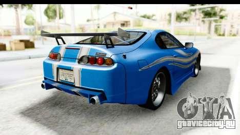 NFS: Carbon Darius Toyota Supra Updated для GTA San Andreas вид сзади слева