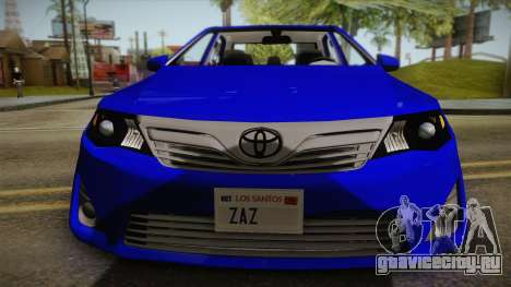 Toyota Camry 2013 для GTA San Andreas вид сзади слева