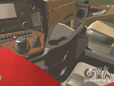 Mercedes-Benz Actros Mp4 6x2 v2.0 Gigaspace v2 для GTA San Andreas вид изнутри