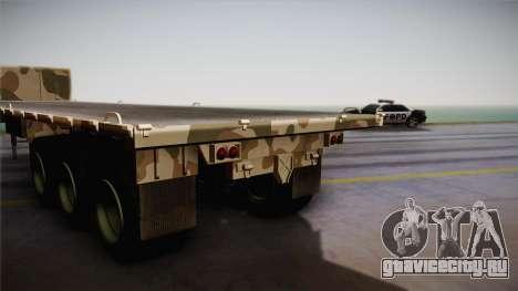 GTA 5 Army Flat Trailer IVF для GTA San Andreas вид сзади слева