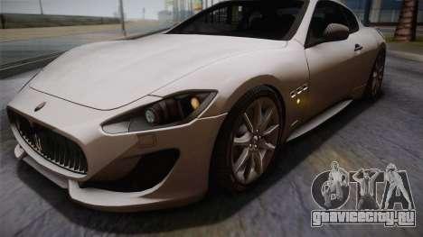 Maserati Gran Turismo Sport для GTA San Andreas вид изнутри