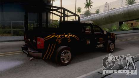 Chevrolet Silverado de la Fuerza Coahuila для GTA San Andreas вид сзади слева
