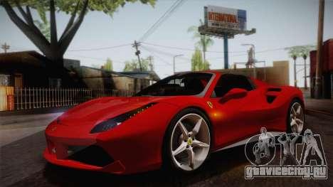 Ferrari 488 Spider для GTA San Andreas вид изнутри