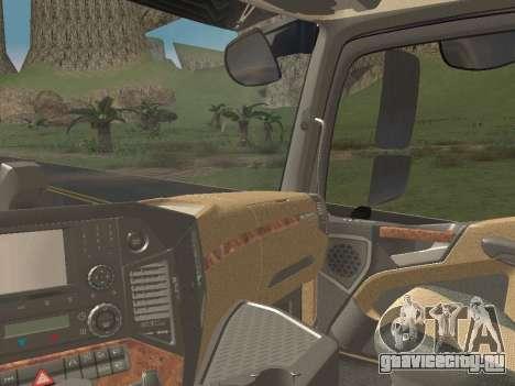 Mercedes-Benz Actros Mp4 6x4 v2.0 Gigaspace v2 для GTA San Andreas вид изнутри