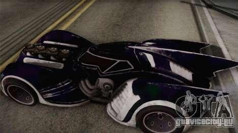 Batman Arkham Asylum Batmobile для GTA San Andreas вид сзади слева