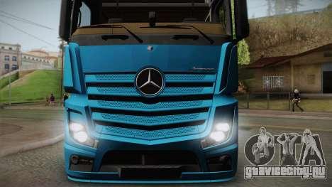 Mercedes-Benz Actros Mp4 6x4 v2.0 Gigaspace v2 для GTA San Andreas вид сзади слева