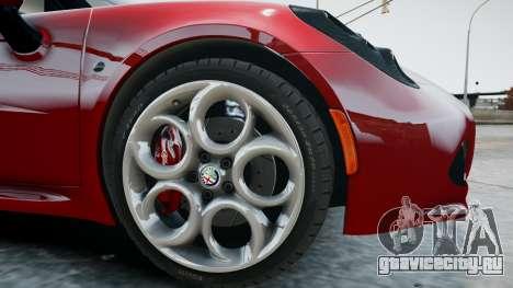 Alfa Romeo 4C 2016 для GTA 4 вид изнутри