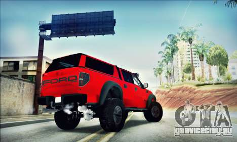 Ford F150 Raptor Long V12 для GTA San Andreas вид сзади