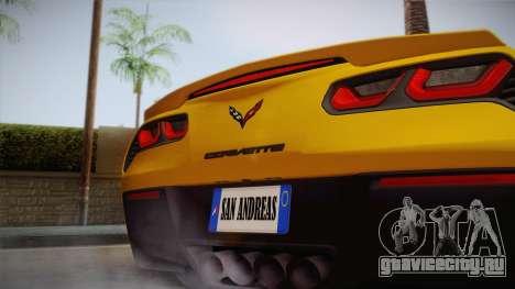 Chevrolet Corvette Stingray 2015 для GTA San Andreas вид справа