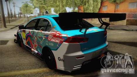 Mitsubishi Lancer Evolution X 2008 Racing Miku для GTA San Andreas вид слева
