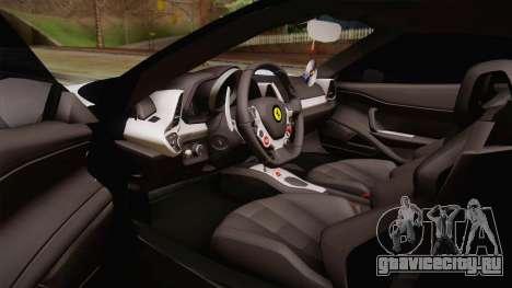 Ferrari 458 Italia для GTA San Andreas вид изнутри