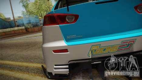 Mitsubishi Lancer Evolution X 2008 Racing Miku для GTA San Andreas вид справа