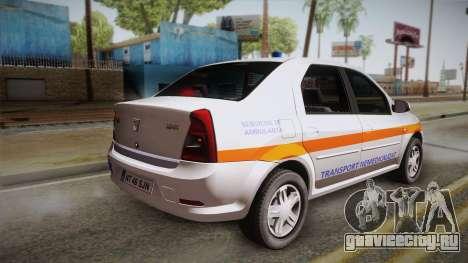 Dacia Logan Facelift Ambulanta v3 для GTA San Andreas вид слева