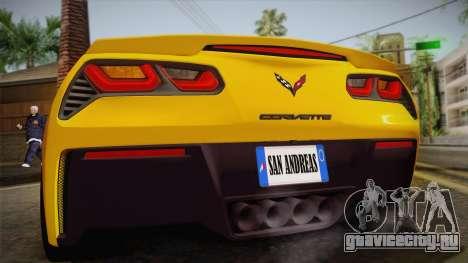 Chevrolet Corvette Stingray 2015 для GTA San Andreas вид изнутри