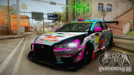 Mitsubishi Lancer Evolution X 2008 Racing Miku для GTA San Andreas