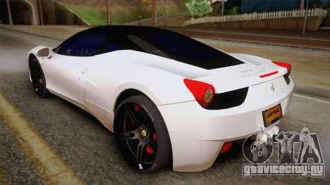 Ferrari 458 Italia для GTA San Andreas вид слева