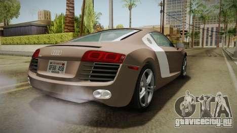 Audi R8 Coupe 4.2 FSI quattro US-Spec v1.0.0 v4 для GTA San Andreas вид справа