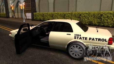 Brute Stanier Slicktop 2009 Iowa State Patrol для GTA San Andreas вид изнутри