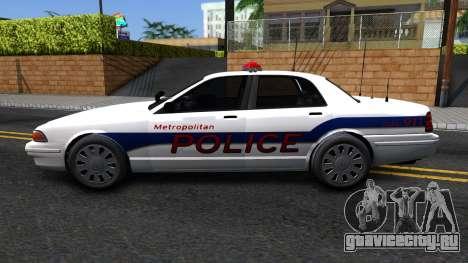Vapid Stanier Metropolitan Police 2009 для GTA San Andreas вид слева