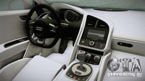 Audi R8 Coupe 4.2 FSI quattro EU-Spec 2008 YCH2 для GTA San Andreas вид изнутри