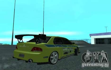 Mitsubishi Lancer Evolution VII для GTA San Andreas вид справа