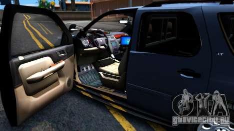 Chevy Tahoe Metro Police Unmarked 2012 для GTA San Andreas вид сзади