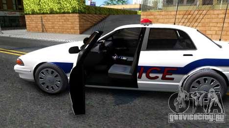 Vapid Stanier Metropolitan Police 2009 для GTA San Andreas вид изнутри