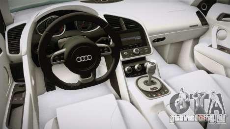 Audi R8 Coupe 4.2 FSI quattro US-Spec v1.0.0 v4 для GTA San Andreas вид изнутри