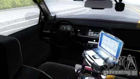 Ford Crown Victoria OHSP Unmarked 2010 для GTA San Andreas вид изнутри