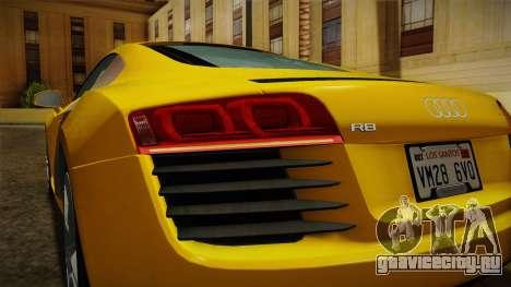 Audi R8 Coupe 4.2 FSI quattro EU-Spec 2008 Dirt для GTA San Andreas салон