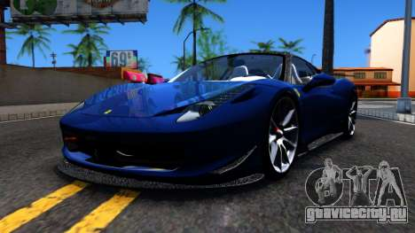Ferrari 458 Italia Tune для GTA San Andreas вид слева