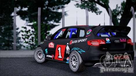 Audi RS3 Sportback Rally WRC для GTA San Andreas вид сзади слева