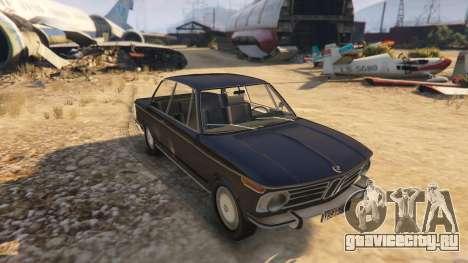 BMW 2002 72 для GTA 5 вид сзади