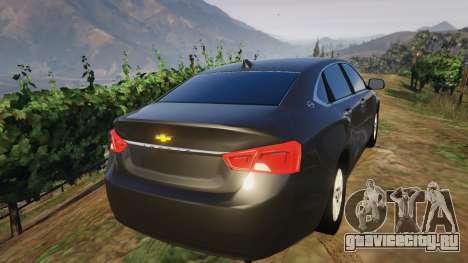 Chevrolet Impala 2015 для GTA 5 вид сзади слева