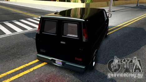 GTA V Declasse Burrito для GTA San Andreas вид сзади слева