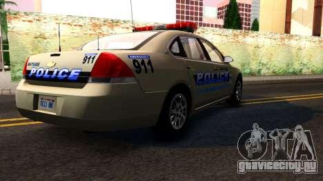 2007 Chevy Impala Bayside Police для GTA San Andreas вид изнутри
