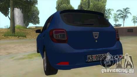2016 Dacia Sandero для GTA San Andreas вид сзади слева