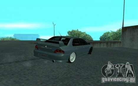 Mitsubishi Lancer Evolution VII для GTA San Andreas вид сверху